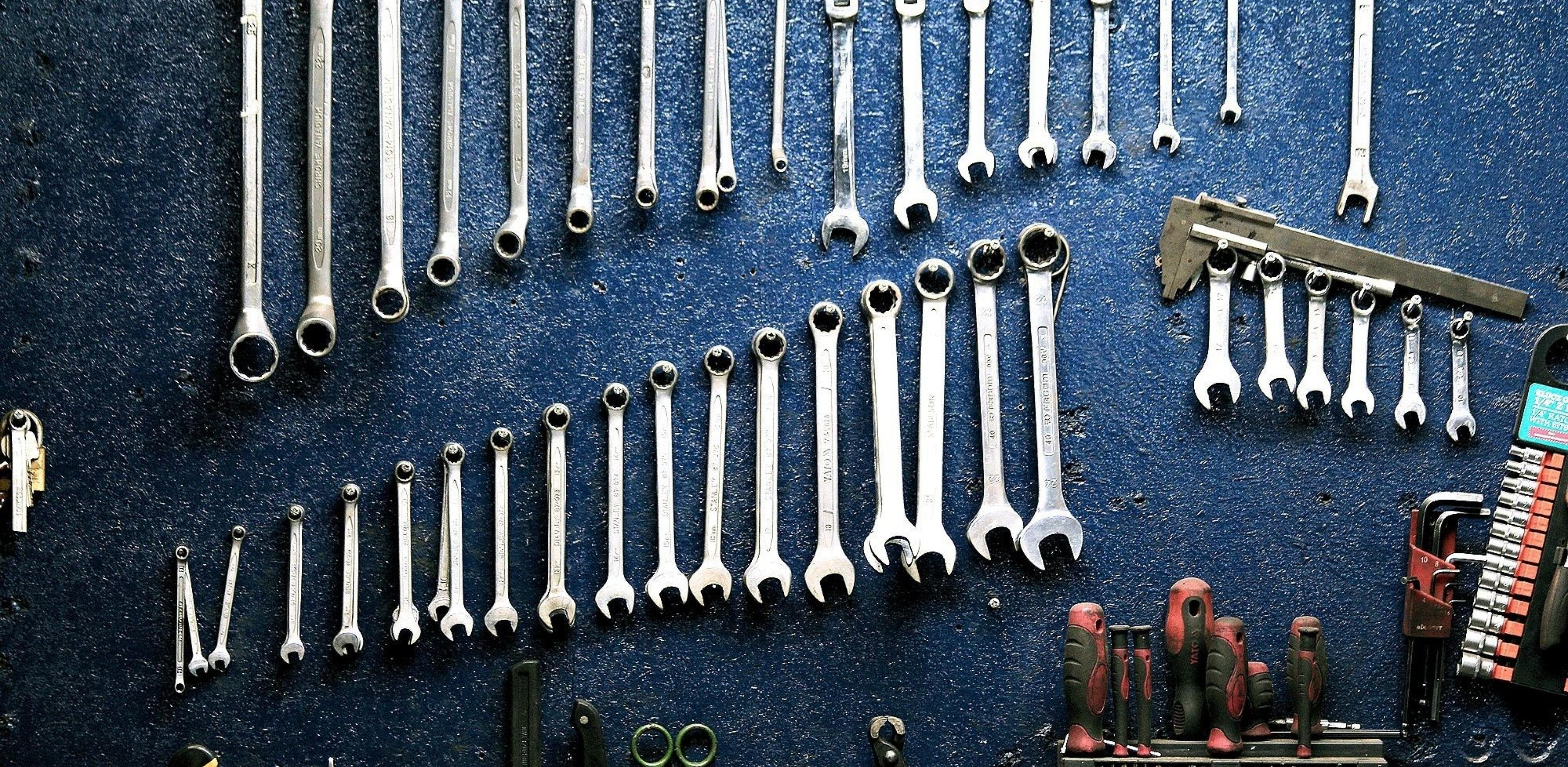 Organized tools hanging up